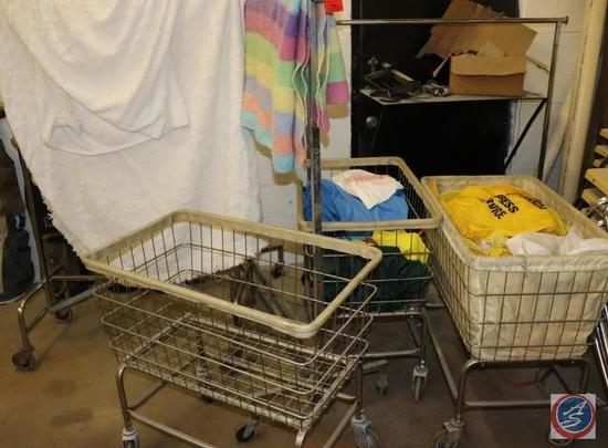 [3] Rolling Wire Laundry Basket Carts; [3] Rolling Garment Racks; Vintage (Queen / Double) White