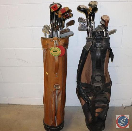 [2] Sets of Steel Shaft Golf Clubs in Classic Leather Carry Bags (Choice of [3] Lots)