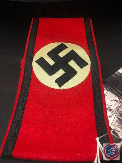 "German WWII Waffen SS Shultz Staffel Swastika Arm Band. Measures 9 5/8"" wide by 4 3/8 tall. The"
