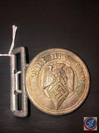 German WWII Hitler Youth HJ Leaders Belt Buckle. The front reads Blut und Ehre (Blood and Honor).