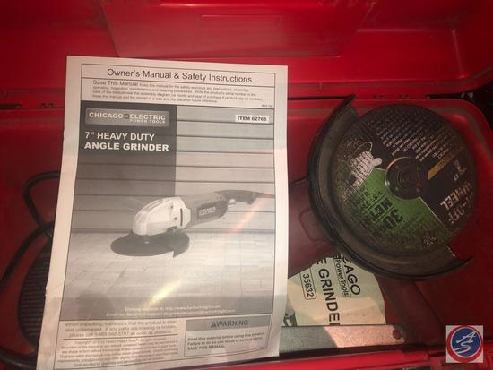 """Chicago Electric 7"""" Heavy Duty Angle Grinder Item No. 62766 w/ Extra Cut Off Wheels"""