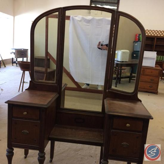 Antique Dressing Table with 3 section mirror