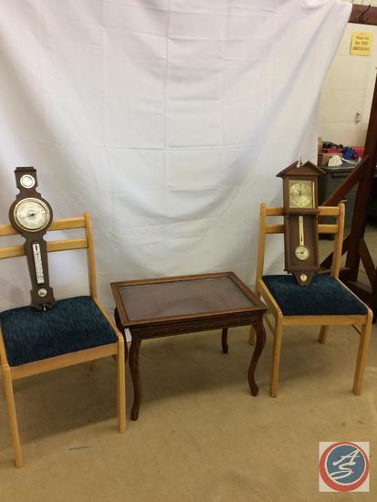 2 - Barometers, Antique table with removable glass top, 2 office chairs