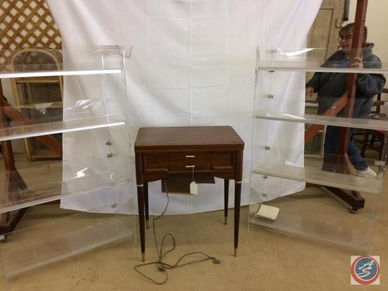 Singer Sewing Machine in Cabinet w/manual, 2 Acrylic Display Units 4 shelves