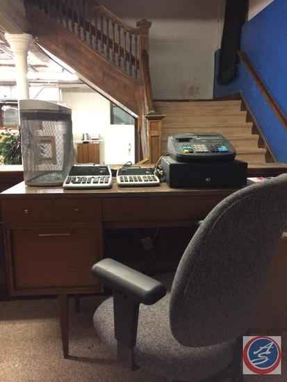 Vintage Desk, Rolling Desk Chair, Royal Cash Register w/manual, 2 adding machines, shredder