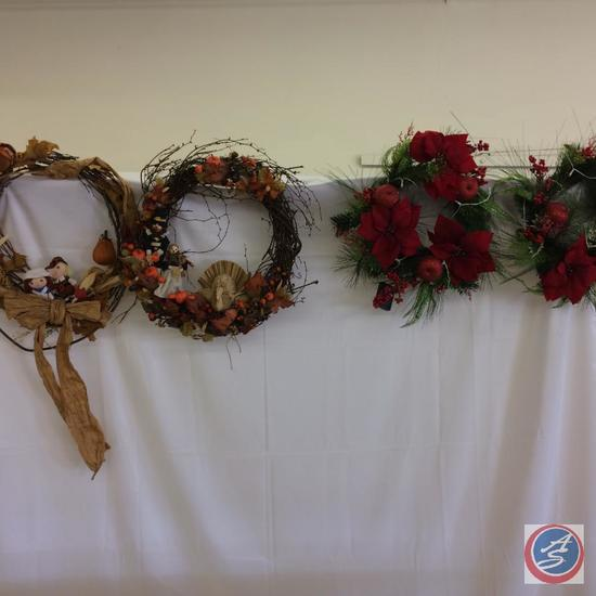 Wreaths - 2 Harvest Wreaths, 2 battery operated lighted Christmas wreaths, 2 small Christmas tree