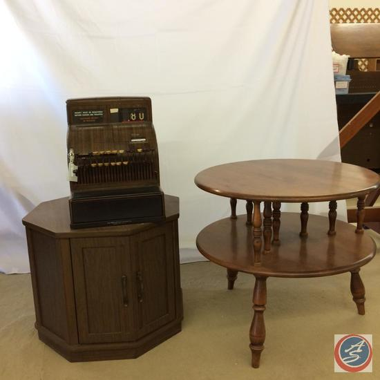 2 Side Tables and Vintage National Cash Register