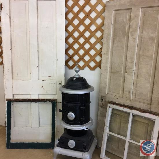 Antique Wood Burning Stove, 2 vintage farm house doors and 2 vintage windows