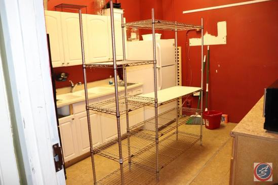 Two Joined Sections of NSF Wire Rack Shelving