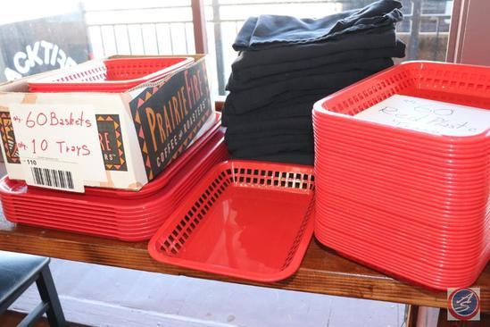 [13] Black Kitchen/Server Full Aprons; [60] Red Plastic Dinner Baskets, [10] Red Plastic Serving