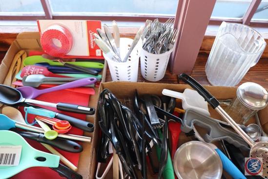 Misc. Kitchen Utensils; Table Forks and Butter Knives; Plastic Beverage Pitcher