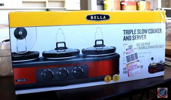 Bella Triple Slow Cooker and Server in Original Box