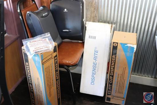 [2] EZ-Fit, and [1] Dispense-Rite Cup Dispensers (One EZ-Fit {NIB}); San Jamar Napkin, and Georgia