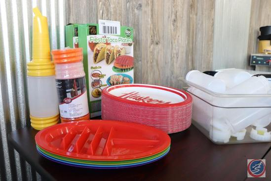 [2] {{NEW}} Boxes of Six Fiesta Taco Multi-Colored Plates; Condiment Squeeze Bottles; [2] Saf-Food