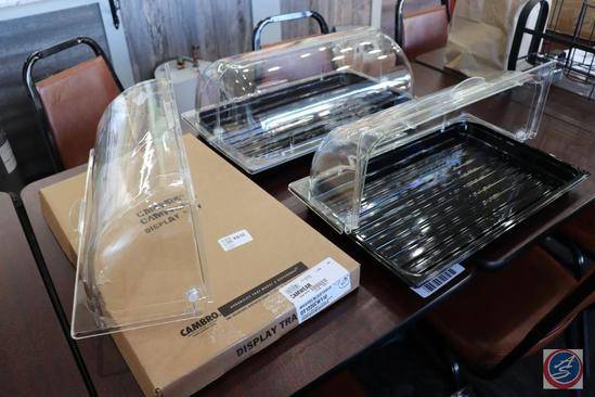 [3] Cambro Camwear Plastic Food Display Trays w/ Clear Swivel Tops (One is {BRAND NEW})