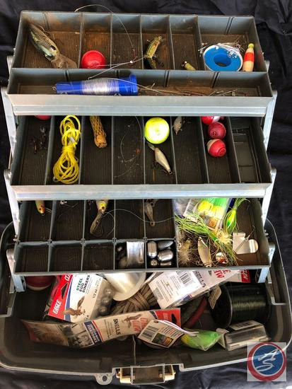 Full tackle box with vintage lures