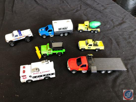 Seven collectible trucks