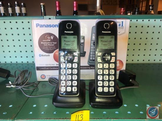 "(4) Telephone Handsets, Charging Bases and Main Base Unit: Panasonic ""Link2Cell"" Cordless Telephones"