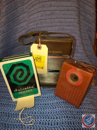 Juliette Pocket Radio Model No. APR-206C In Original Box, GE Sportmate Transistor Radio w/ Leather