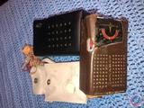 Vintage Monarch 6 Transistor Radio in Brown Leather Case, General Electric 6 Transistor Radio in