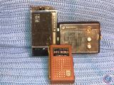 Vintage 1964 Magnavox 8 Transistor AM Radio in Brown Leather Case, Sears Silvertone 10 Transistor