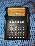 Candle 8 Transistor Radio Model No. PTR-85C in Black Leather Case