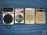 Soundesign AM/FM Pocket Radio, Panasonic AM Transistor Radio, RCA Transistor Radio and HiFi Deluxe