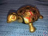 Vintage 1970 Brass Turtle Radio [[MISSING HAT AND HEAD COMES OFF]]