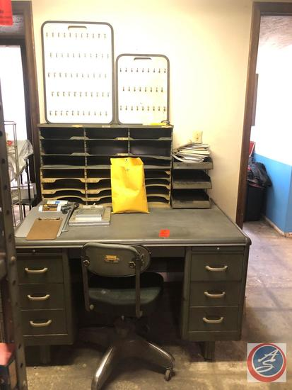 """Art Metal Seven Drawer Office Desk Measuring 49"""" X 31"""" X 31"""" [[CONTENTS NOT INCLUDED]], Five Tier"""