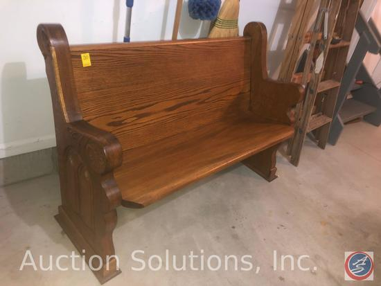 """Wooden Church Pew Bench Seating Measuring 55"""" x 21"""" x 33"""""""