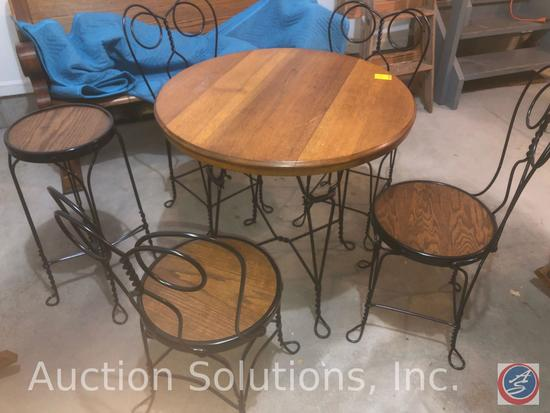"""{{6X$BID}} Antique Wood and Metal Ice Cream Parlor Bistro Table measuring 30"""" x 30"""" w/ (4) Matching"""