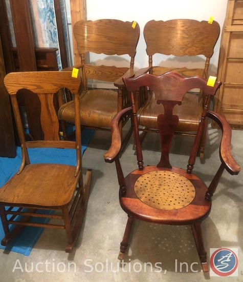"""{{4X$BID}} (2) Antique Wood Rocking Chairs with Arms Measuring 37.5"""" Tall, Cherry Wood Rocking Chair"""
