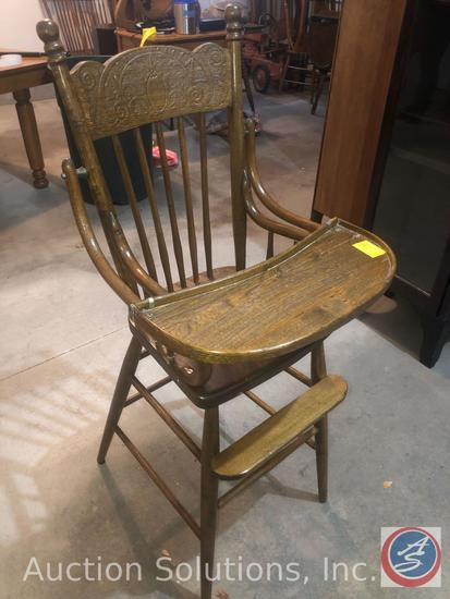 """Early 1900's High Chair with Pineapple Engraved In Back Rest Measuring 45"""" Tall"""