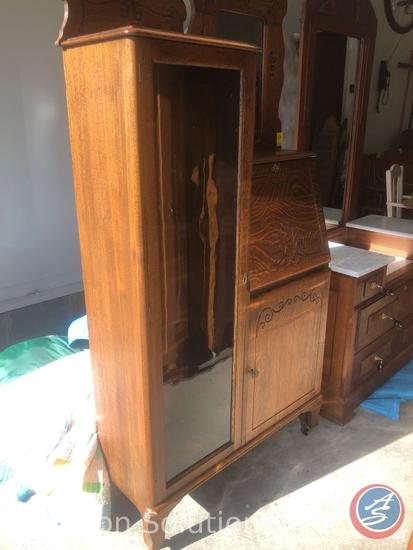 Early 1900's Forest City Furniture Rolling Side by Side Secretary Desk with 5 Glass Shelves