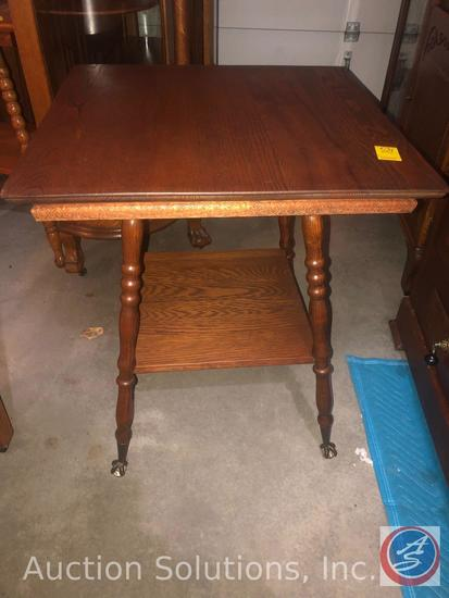 """Antique 2 Tier Wooden Ball Claw Parlor Table Stamped 55 Measuring 24"""" x 24"""" x 29"""""""