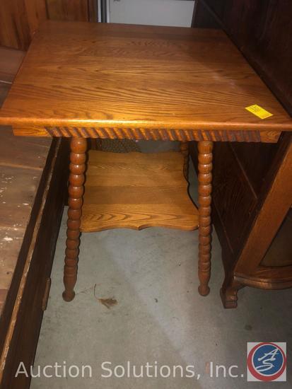 "{{2X$BID}} 2 Tier Wooden Antique Parlor Table Measuring 24"" x 24"" x 30"""