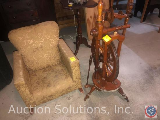 Antique Sewing Spinning Wheel Spindle and Vintage Child's Upholstered Rocking Chair with Nail Head