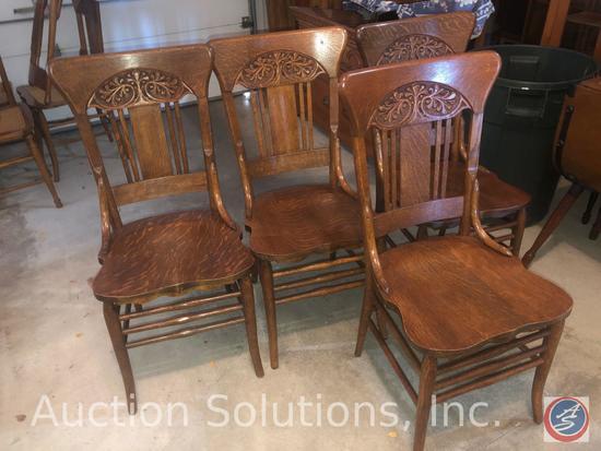 "{{4X$BID}} Slat Back Wooden Dining Chairs Measuring 37.5"" Tall"