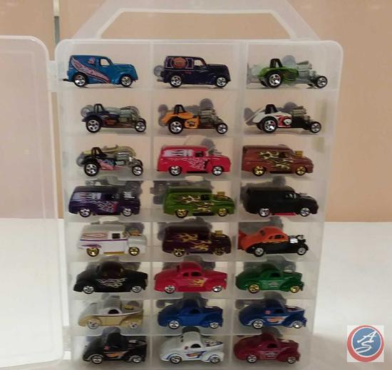 (48) Collectible Hot Wheels / Matchbox Die-Cast Cars in a Organized Plastic Carry Case