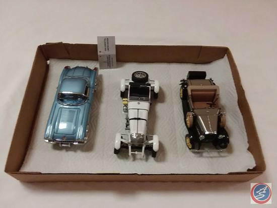 (3) Scale Replica Die-Cast Model Cars: Franklin Mint 1958 Corvette; Danbury Mint 1931 Mercedes-Benz
