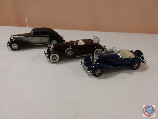 (3) Scale Replica Die-Cast Model Cars: Franklin Mint 1935 Duesenberg J550; Franklin Mint 1935