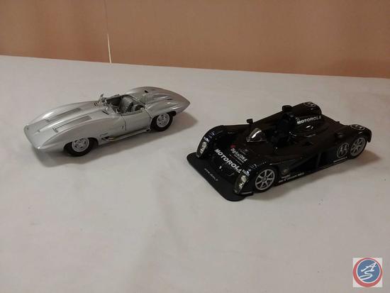 (2) 1:18 Scale Replica Die-Cast Model Cars: 1959 Chevy Corvette Stingray; Cadillac Motorola Digital