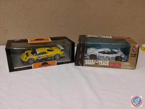 (2) 1:18 Scale Replica Die-Cast Model Race Cars {IOB}