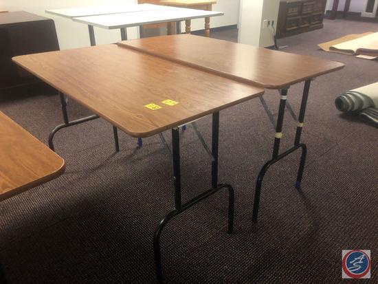 "{{2X$BID}} (2) Laminate and Metal Folding Tables Measuring 48"" X 24"" X 29"""