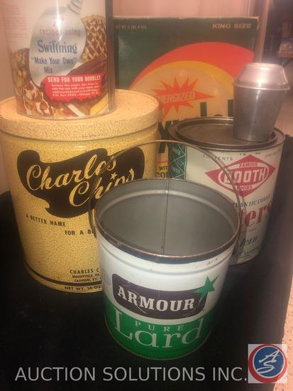 Empty Tins Including One Gallon Famous Booth Foods Oyster Tin, Armour Pure Lard, Charles Chips Tin