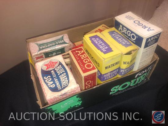 (2) Boxes of Watkins Perfume Starch, Blue Barrel White Laundry Soap, Tintex All Fabric Tints and