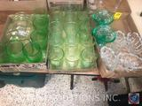 (6) Green Anchor Hocking Glass Wine/Water Goblets, (10) Green Princess Glass Water Glasses With