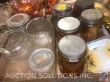 (4) Amber Glass Canisters with Lids, (1) Clear Glass Canister with Lid, (3) Glass Canisters with