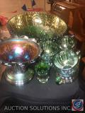 Vintage Emerald Iridescent Glass Punch Bowl with (6) Punch Cups, Vintage Green Carnival Glass Candy