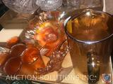 Vintage Orange Marigold Iridescent Pitcher and (5) Water Glasses, Orange Carnival Glass Candy Dish,